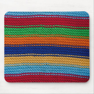 Colorful knitted stripes mouse mat
