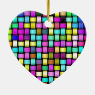 Colorful knitted texture ceramic heart decoration