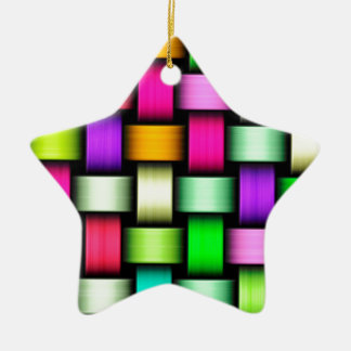 Colorful knitted texture ceramic star decoration