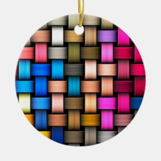 Colorful knitted texture round ceramic decoration