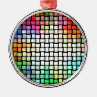 Colorful knitted texture Silver-Colored round decoration