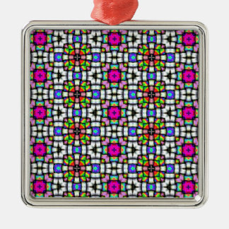 Colorful knitted texture Silver-Colored square decoration
