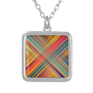 Colorful Kriss Kross Pattern Silver Plated Necklace