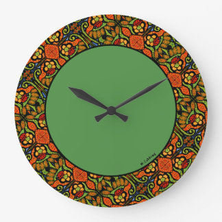 Colorful Ladybug Pattern Polka Dots Flowers Green Large Clock