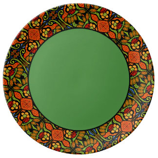 Colorful Ladybug Pattern Polka Dots Flowers Plate