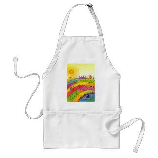 colorful landscape adult apron