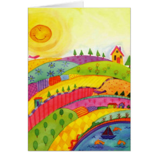colorful landscape greeting card