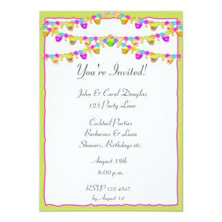 Colorful Lanterns 13 Cm X 18 Cm Invitation Card