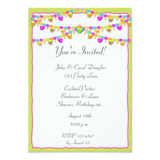 "Colorful Lanterns 5"" X 7"" Invitation Card"