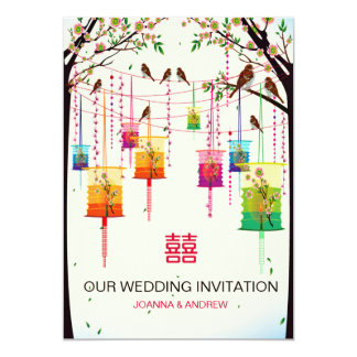 Colorful Lanterns Cherry Tree Birds Spring Wedding 13 Cm X 18 Cm Invitation Card