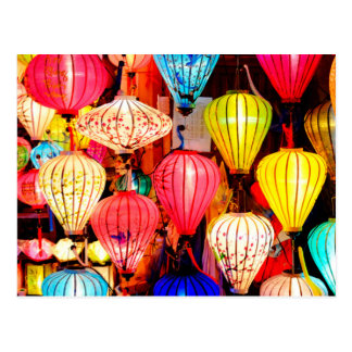 Colorful lanterns postcard