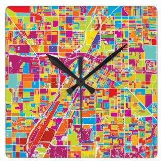 Colorful Las Vegas, Nevada Map Square Wall Clock