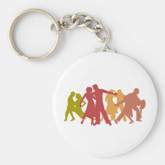Colorful Latin Dancers Basic Round Button Key Ring