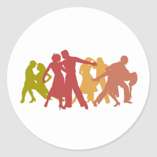 Colorful Latin Dancers Classic Round Sticker
