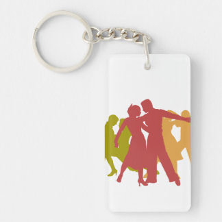Colorful Latin Dancers Double-Sided Rectangular Acrylic Key Ring