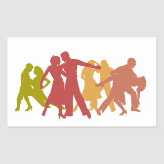Colorful Latin Dancers Rectangle Sticker