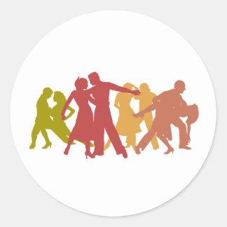 Colorful Latin Dancers Round Sticker