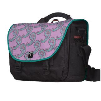 Colorful Lavender Purple Teal Vintage Paisley Laptop Messenger Bag