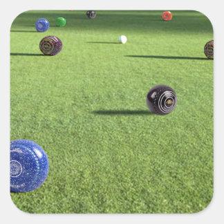 Colorful_Lawn_Bowls,_ Square Sticker