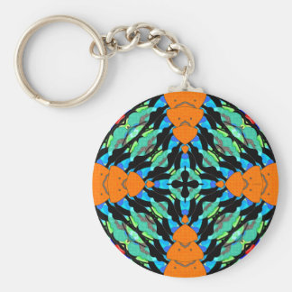 Colorful Layers Pattern Basic Round Button Key Ring