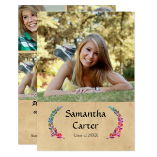 Colorful Leaf - 3x5 Graduation Announcement