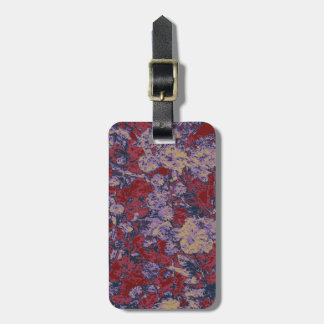 Colorful leaf and flower camouflage pattern luggage tag