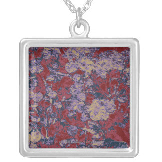 Colorful leaf and flower camouflage pattern silver plated necklace