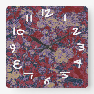 Colorful leaf and flower camouflage pattern square wall clock