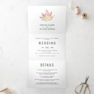 Colorful leaf print moss green fall wedding Tri-Fold invitation