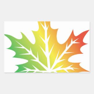 Colorful Leaf Rectangular Sticker