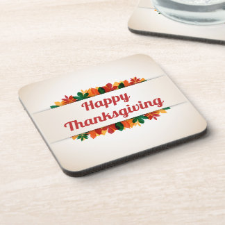 Colorful Leaves Happy Thanksgiving | Coaster