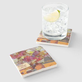 Colorful leaves Thanksgiving coaster