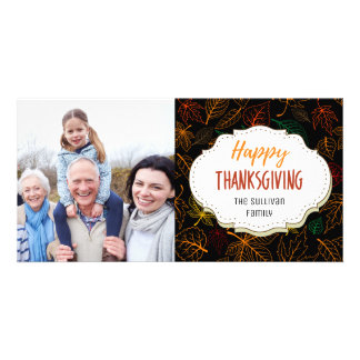 Colorful Leaves Thanksgiving Picture Photo Card
