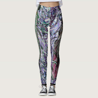 Colorful leggings with feather design