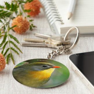 Colorful Leiothrix / Pekin Robin Songbird Basic Round Button Key Ring