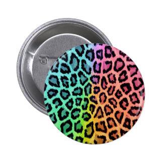 Colorful leopard print 6 cm round badge