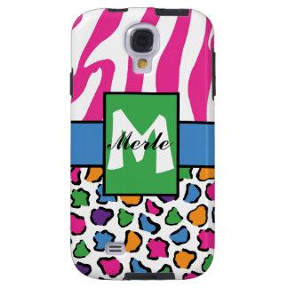 Colorful Leopard & Zebra Print Personalized 4S Galaxy S4 Case