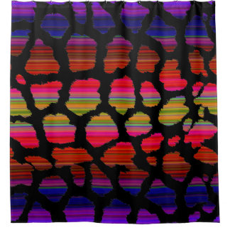 Colorful Leopord Skin Crazy Rainbow Colors Shower Curtain