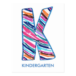 Colorful Letter K as in Kay is for Kindergarten Postcard
