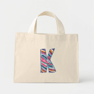Colorful Letter K as in Kay Mini Tote Bag