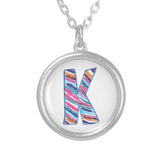 Colorful Letter K as in Kay Round Pendant Necklace