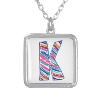 Colorful Letter K as in Kay Square Pendant Necklace