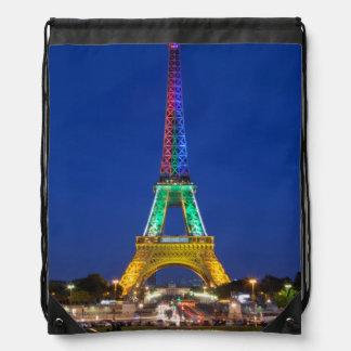 Colorful light display on the Eiffel Tower Drawstring Bag