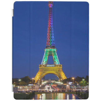 Colorful light display on the Eiffel Tower iPad Cover
