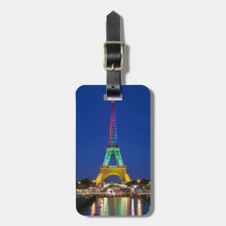 Colorful light display on the Eiffel Tower Luggage Tag