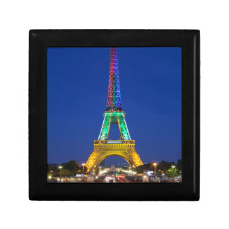 Colorful light display on the Eiffel Tower Small Square Gift Box