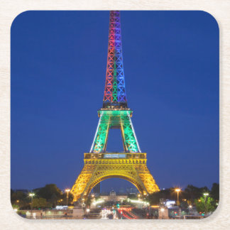Colorful light display on the Eiffel Tower Square Paper Coaster
