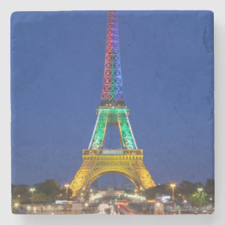 Colorful light display on the Eiffel Tower Stone Coaster