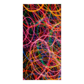 COLORFUL LIGHT LOOPS BLACK BACKGROUND DIGITAL PHOTO CARD TEMPLATE