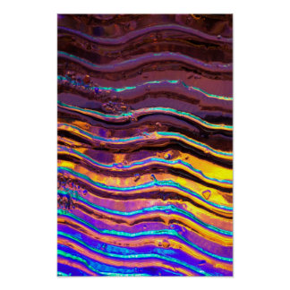 Colorful Lights Behind Wavy Glass Poster